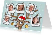 Kerstkaart met rendier gewei met 5 foto's