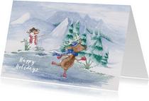 Kerstkaart met rendier op schaatsen