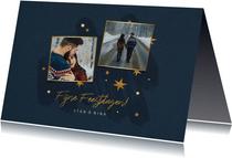 Kerstkaart met sterren, 2 foto's en fijne feestdagen
