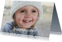 Kerstkaart met sterretjeskader en gouden stipjes