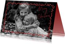 Kerstkaart met trendy rood in glitter strass steentjes