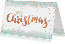 Kerstkaart met waterverf en goudkleurige handlettering