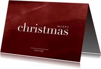 Kerstkaart met waterverf en merry christmas