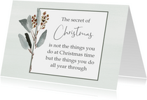 Kerstkaart mint Secret of Christmas