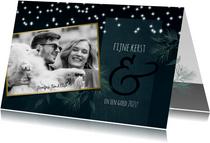 Kerstkaart modern met foto en sterretjes 2020-2021