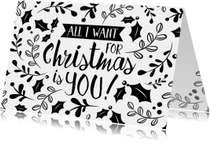 Kerstkaart modern zwart wit takken