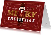 Kerstkaart nutcracker vintage retro merry christmas