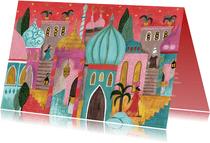 Kerstkaart oriëntaalse stad bethlehem