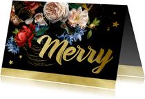 Kerstkaart oude meesters bloemen goud
