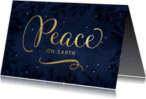 Kerstkaart Peace on earth goud donker blauw