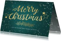 Kerstkaart petrol liggend gouden sterren - een gouden kerst