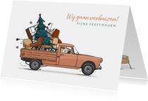 Kerstkaart Pickup Peugeot 404 oranje