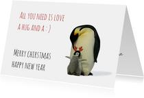 Kerstkaart pinguin, kleintje en gewei