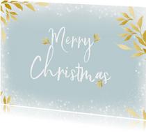 Kerstkaart rechthoek Merry Christmas en gouden blaadjes