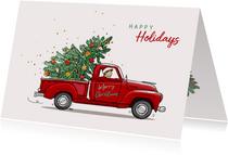 Kerstkaart rode Amerikaanse pickup
