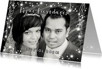 Kerstkaart romantische foto kaart met twinkelingen