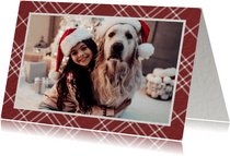 Kerstkaart rood ruitpatroon met foto