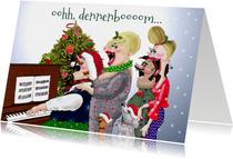 Kerstkaart Samenzang piano met kerstboom