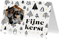 Kerstkaart Scandinavische bomen en foto