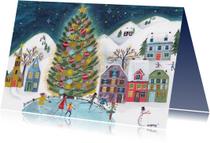 Kerstkaart schaatsen bij de kerstboom