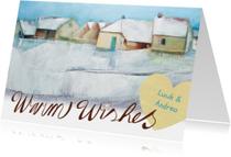 Kerstkaart schilderij huizen