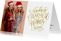 Kerstkaart Sending Warmest Wishes goudlook met eigen foto