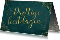 Kerstkaart sierlijke gouden letters donkergroen