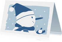 Kerstkaart silhouet sneeuwpop