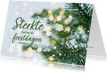 Kerstkaart sterkte tijdens de feestdagen dennentak