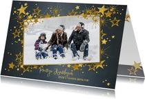 Kerstkaart stijlvol blauw met foto en gouden sterren