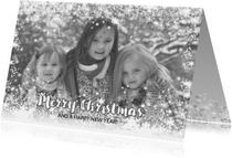 Kerstkaart stijlvol foto sterren en twinkelingen zilver