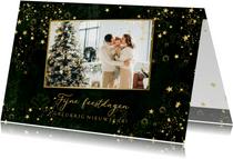 Kerstkaart stijlvol groen gemêleerd gouden sterren en foto