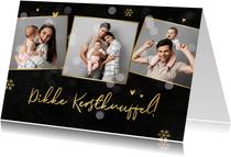 Kerstkaart stijlvol knuffel goud sneeuw krijtbord foto