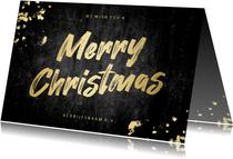 Kerstkaart stoer 'merry christmas' goud betonlook