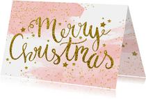 Kerstkaart tekst aquarel glitter