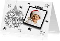 Kerstkaart tekst & foto zwartwit