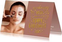 Kerstkaart trendy tekst goud Happy Christmas