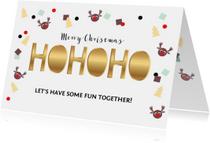 Kerstkaart uitnodiging feestje confetti
