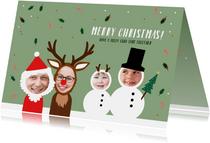Kerstkaart uniek en grappig gezin verkleed