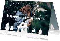 Kerstkaart verhuiskaart foto illustratie