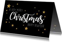 Kerstkaart Very Merry Christmas zwart en goud