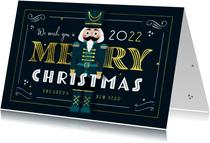 Kerstkaart vintage notenkraker goud illustratie gatsby