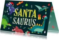 Kerstkaart vrolijk hip dinosaurus feest humor kinderen