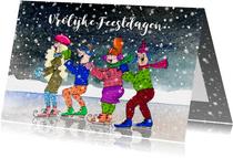 Kerstkaart vrolijke schaatsers