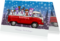 Kerstkaart VW bus pickup