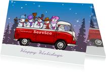 Kerstkaart VW bus pickup