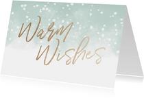 Kerstkaart Warm Wishes met waterverf en sneeuw