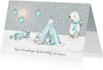 Kerstkaart winter tipi met konijntjes en ijsbeer