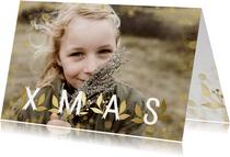 Kerstkaart XMAS goudlook grote foto met confetti