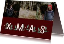 Kerstkaart 'Xmas' met takjes en foto's